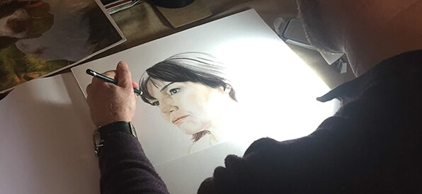 ghosted female portrait drawing in full colour