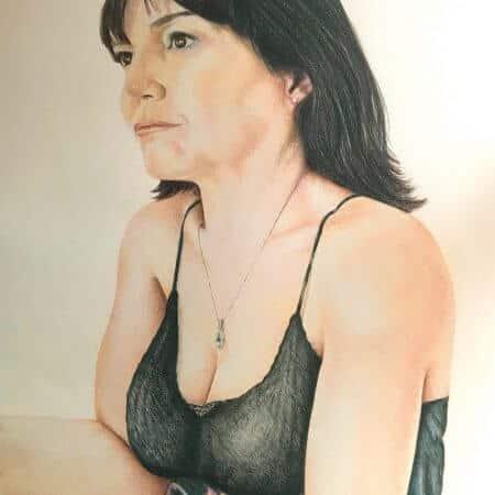 Full colour female portrait in pencil crayon