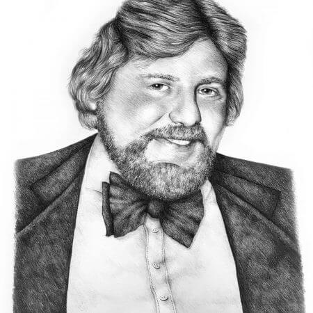 People portrait of mature male in black and white graphite pencil