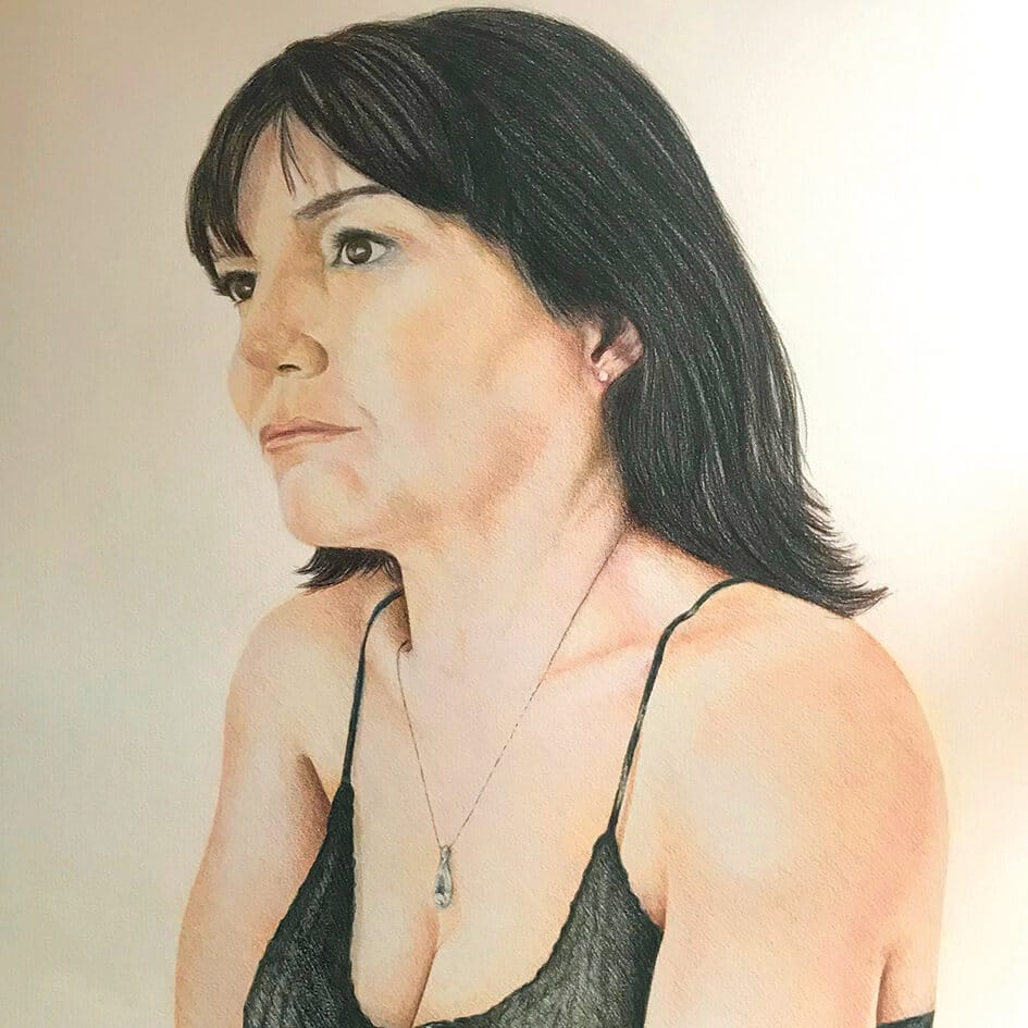 close up of full colour female portrait drawing