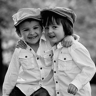 double black and white children pencil portrait