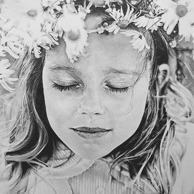 Black and white drawing of child flowergirl