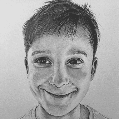 black and white loose child sketch