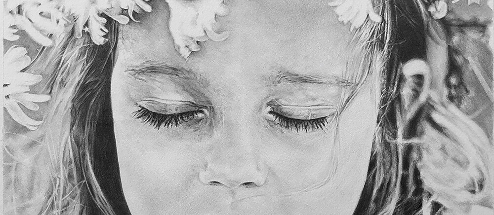 children pencil portrait drawings - black and white child drawing in graphite pencil